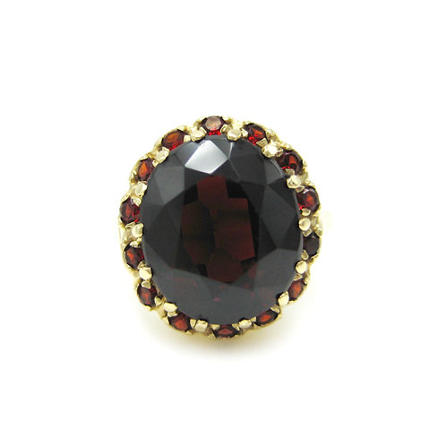 Vintage Garnet 14K Oval Cluster Statement Ring