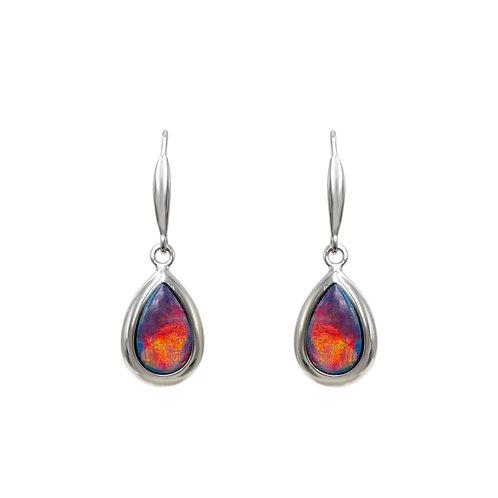 Opals Australia 14K White Gold Opal Dangle Earrings
