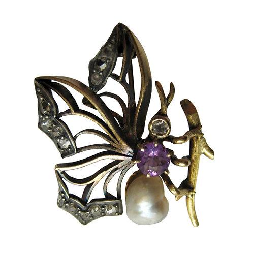 Victorian Amethyst & Pearl Butterfly Brooch