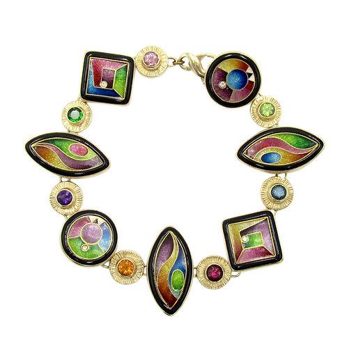 Magick Enamel, Diamond, Colored Gemstone Bracelet
