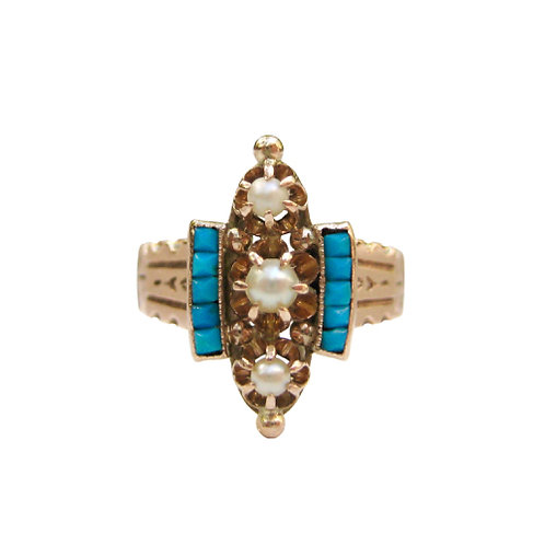 Shafer & Douglas Turquoise Victorian Ring