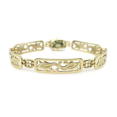 Vintage Hawaiian 14 Karat Gold Link Bracelet | NA Hoku | Sultan Company