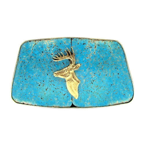 Rare Signed Sid Bell Nevada Turquoise Belt Buckle