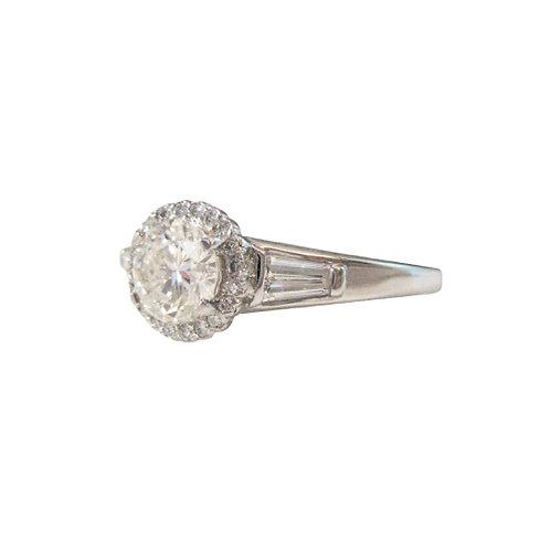 1.22 CTW Diamond Halo Platinum Engagement Ring