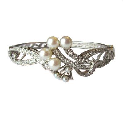 Vintage Diamond and Pearl Bracelet