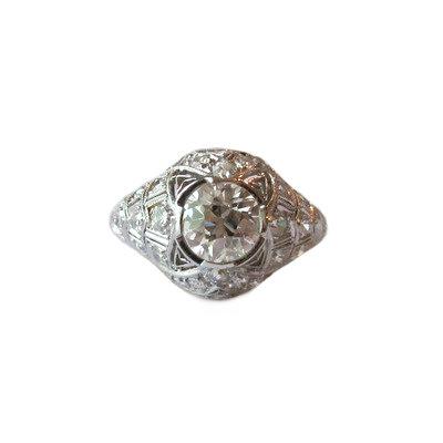 Art Deco 2.07tcw Diamond Engagement Ring