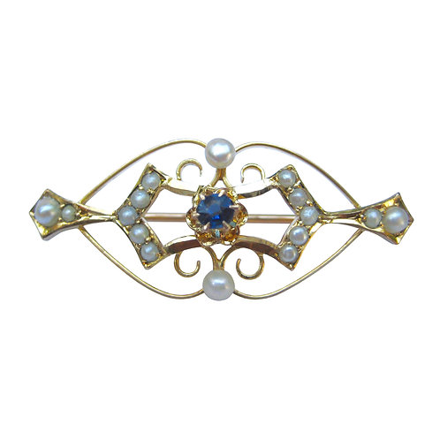 Antique Seed Pearl & Sapphire Lingerie Pin Brooch