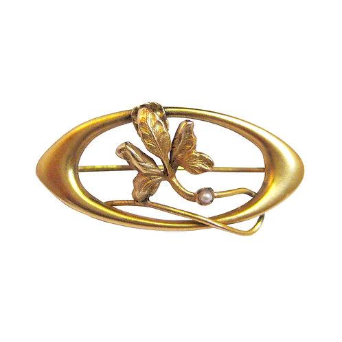 Art Nouveau Seed Pearl Lingerie Pin Brooch 14K
