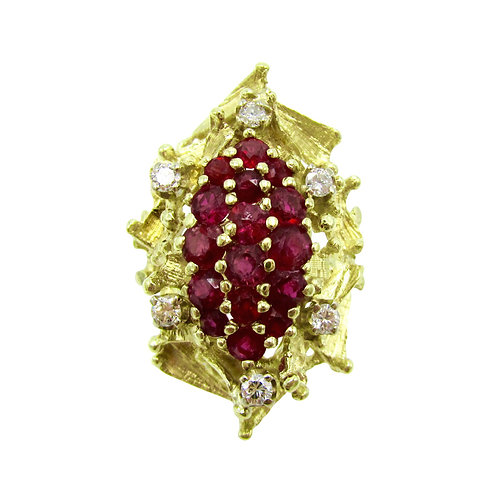 2ct Ruby & Diamond 14K Gold Vintage Cocktail Ring