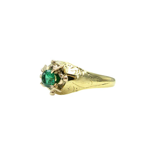 Antique Green Stone Engraved 14K Gold Ring