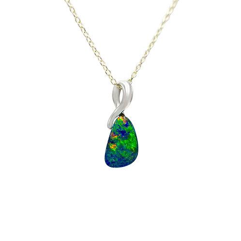 Opals Australia 14K White Gold Opal Pendant