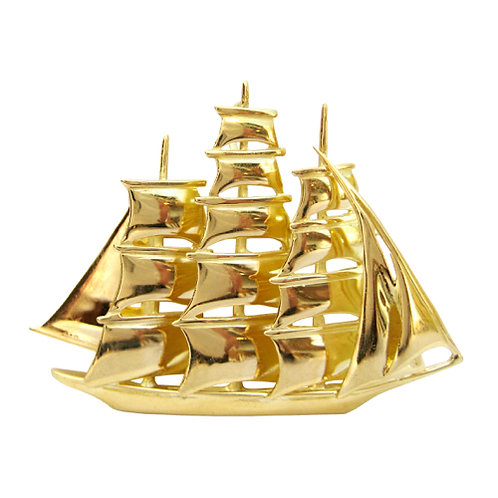 18K Ship Pendant/Brooch