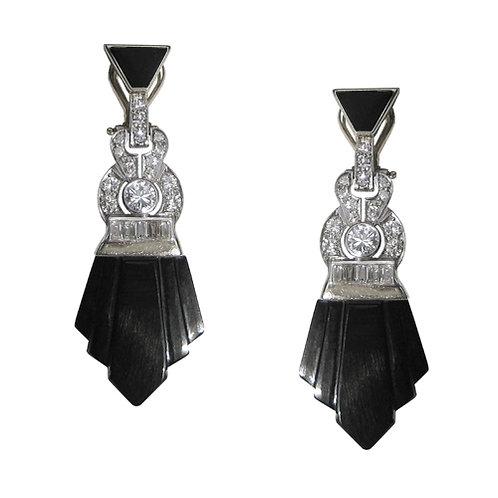 Art Deco Diamond & Onyx Earrings
