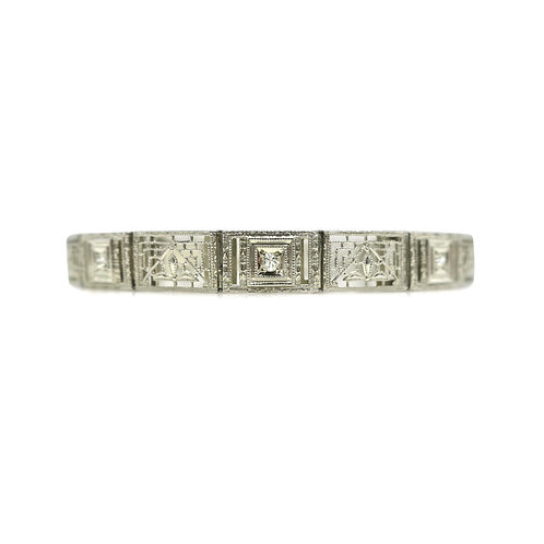Art Deco Diamond & 14K White Gold Filigree Vintage Bracelet