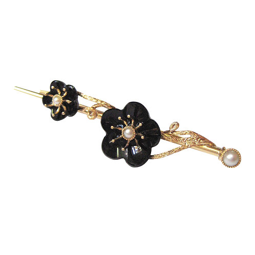 Victorian Plum Blossom Carved Onyx & Pearl 14K Pin