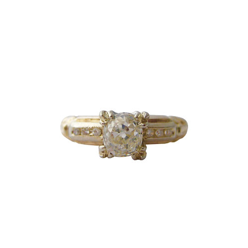 Old Mine Cut Diamond Solitaire Engagement Ring
