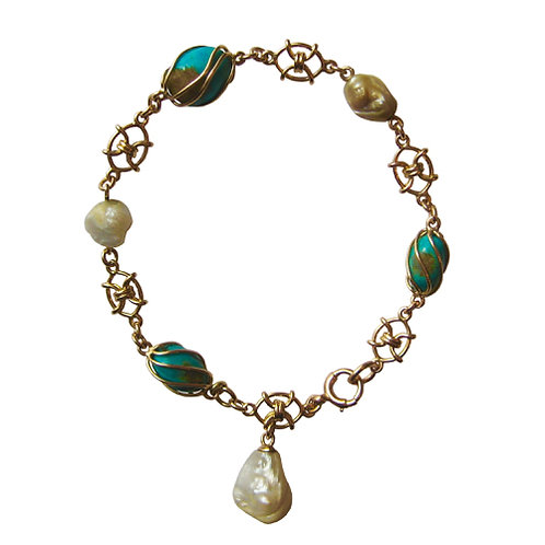 Arts & Crafts Turquoise & Pearl Bracelet