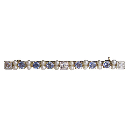 Sapphire, Diamond, & Pearl Brooch