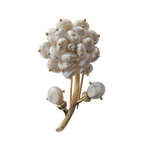 Keshi Pearl & Diamond Flower Brooch