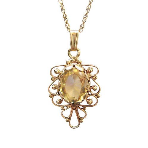 Yellow Citrine Filigree Vintage 14K Gold Pendant