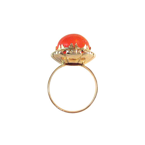 Vintage Mexican Fire Opal 12K Dome Cocktail Ring