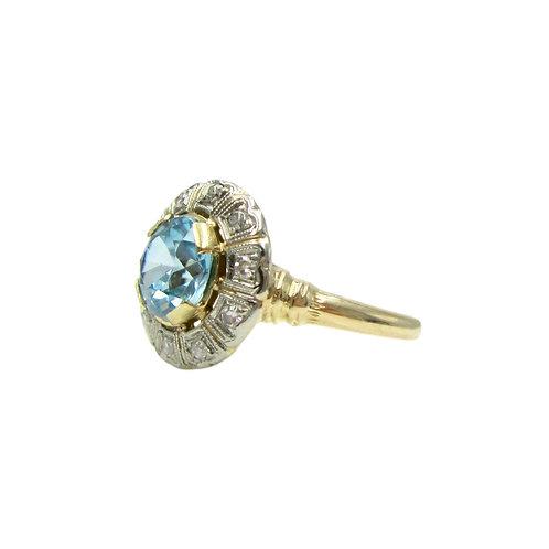 Vintage Blue Zircon & Diamond 14K Cluster Ring