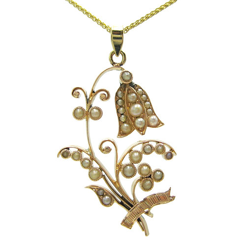 Antique Lily of the Valley Seed Pearl Pendant