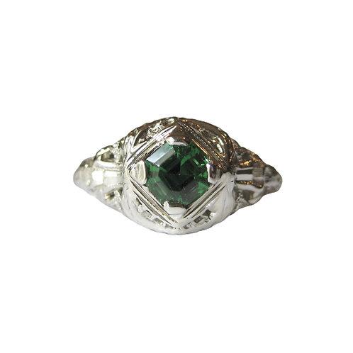 Art Deco Filigree Tsavorite Garnet Ring