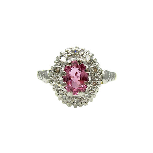 Vintage Pink Sapphire & Diamond Cluster 18K Ring