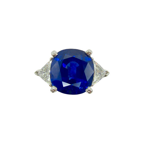 6.03ct Blue Sapphire & 1ctw Diamond Platinum Ring