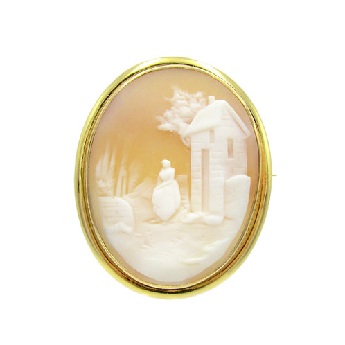 Scenic Carved Shell Cameo Pendant Brooch