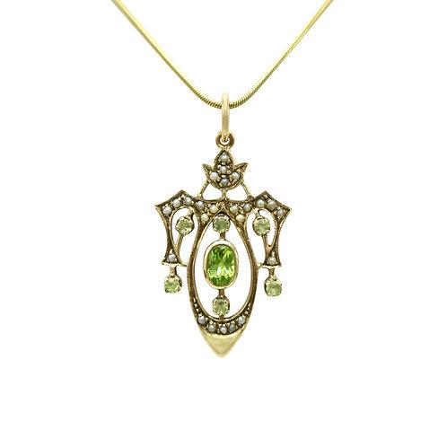 Antique Peridot & Pearl Art Nouveau 9K Gold Lavalier Pendant