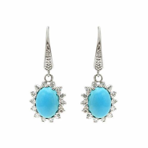 Turquoise & Diamond 14K Cluster Earrings
