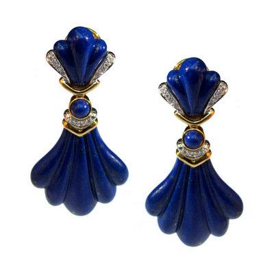 Lapis Lazuli & Diamond 18K Ear Pendants