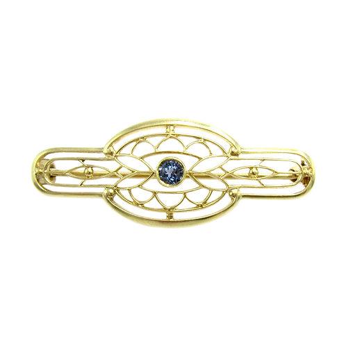 Krementz & Co. Sapphire 14K Gold Edwardian Lingerie Pin