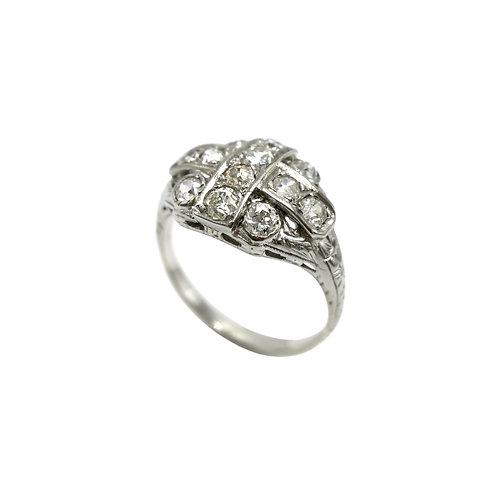 Vintage 1 CTW Old Cut Diamond 18K White Gold Ring
