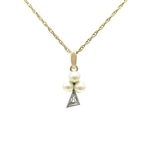Vintage Diamond & Pearl Club / Trefoil / Clover 14K Platinum Pendant