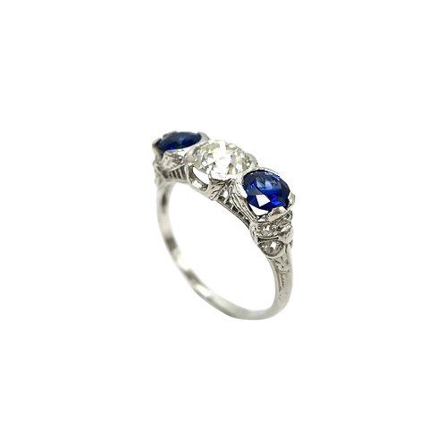 1.01 CT Diamond & Sapphire Platinum Art Deco Ring