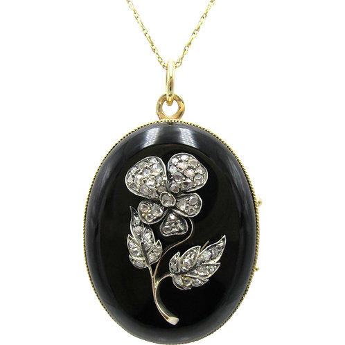 Antique Rose Cut Diamond Onyx Pansy Flower Locket