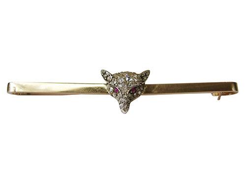 Antique Diamond Fox Bar Pin