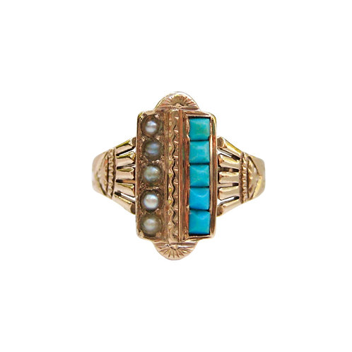 Antique Turquoise & Pearl Rose Gold Ring