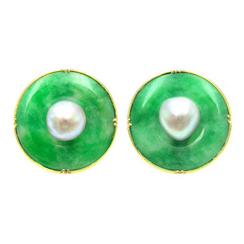 Jade Bi & Pearl 14K Gold Vintage Cufflinks