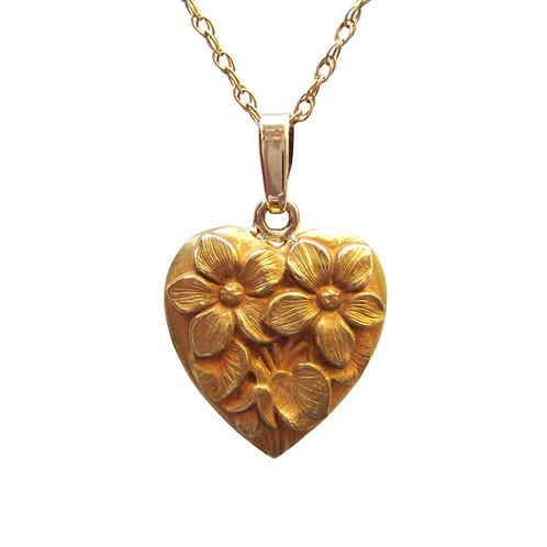 Antique Heart Pendant With Repoussé Flowers