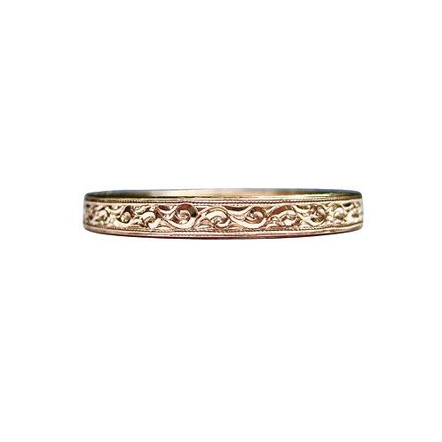 Hand Engraved 14K Rose Gold Wedding Band