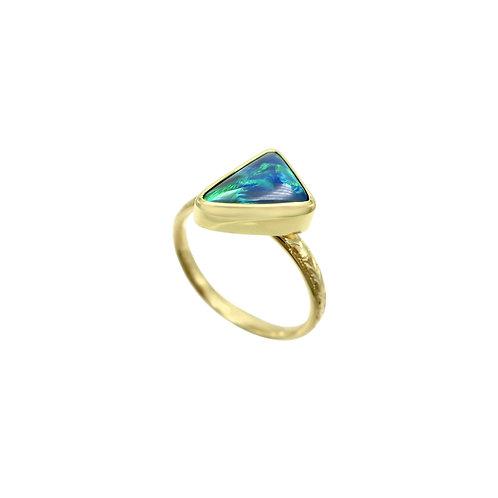 Solid 1.50 Carat Black Opal & Engraved 18K Handmade Ring