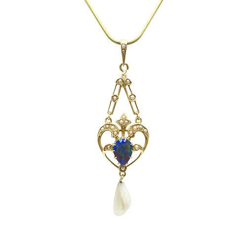 Antique Black Crystal Opal & Pearl Garland Edwardian Lavalier Pendant