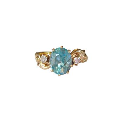 Blue Zircon & Diamond Antique Ring