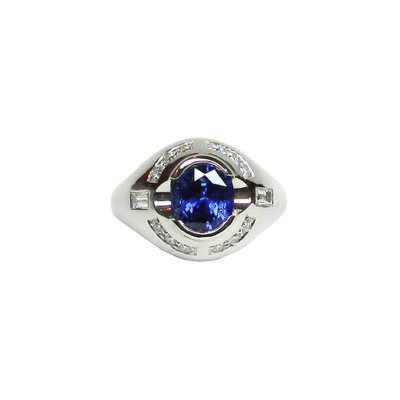 3.5 Carat Natural Sapphire Gents Ring