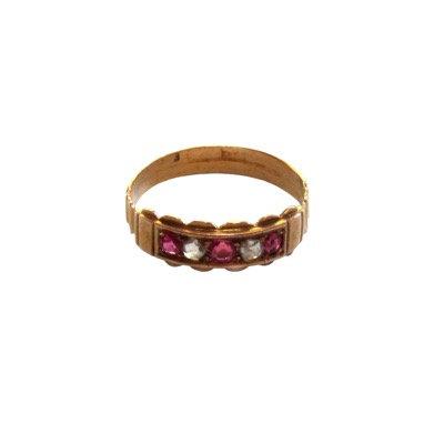 Antique Ruby & Rose Cut Diamond 18K Wedding Ring