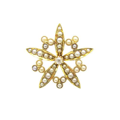 Antique Diamond & Split Pearl Star Flower Brooch